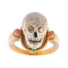 A.Codognato Small Enamel Diamond Gold Skull Memento Mori Ring