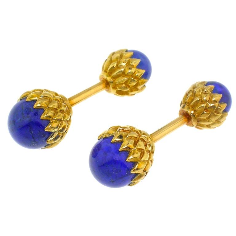 Acorn 18 Karat Cufflinks with Lapis Lazuli, Jean Schlumberger for Tiffany & Co. For Sale