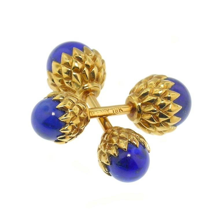 Acorn 18 Karat Cufflinks with Lapis Lazuli, Jean Schlumberger for Tiffany & Co. For Sale 1