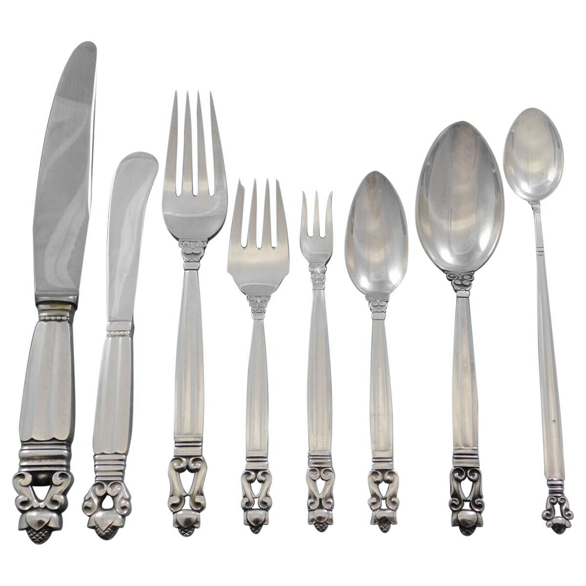 Acorn by Georg Jensen Sterling Silver Flatware Service 6 Dinner Set 48 Pieces