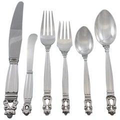 Acorn by Georg Jensen Sterling Silver Flatware Set for 8 Service Dinner 48 Pcs