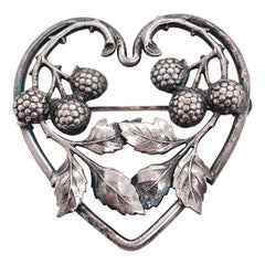 Acorn Heart Brooch Sterling Silver Vine Heart, Large Nature Inspired, circa 1869