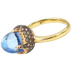Acorn Shaped Blue Topaz Champagne Brown Diamond Pavé 18 Karat Gold Ring