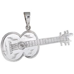 Acoustic Guitar Pendant Vintage 14 Karat White Gold Estate Fine Musical Jewelry