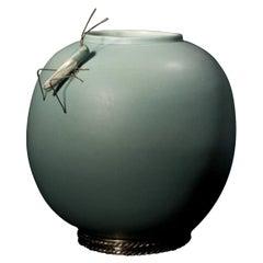 Acqua Grasshopper Piece by Estudio Guerrero, Glazed Ceramic and White Metal