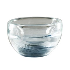 Acqua Round Bowl in Crystal and Grape Murano Glass by Michela Cattai