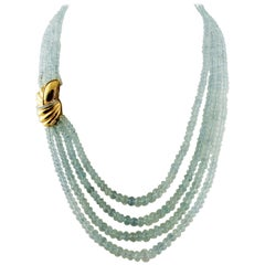 Acquamarine Beaded Necklace with Diamonds, and 18 Karat Yellow Gold Closure