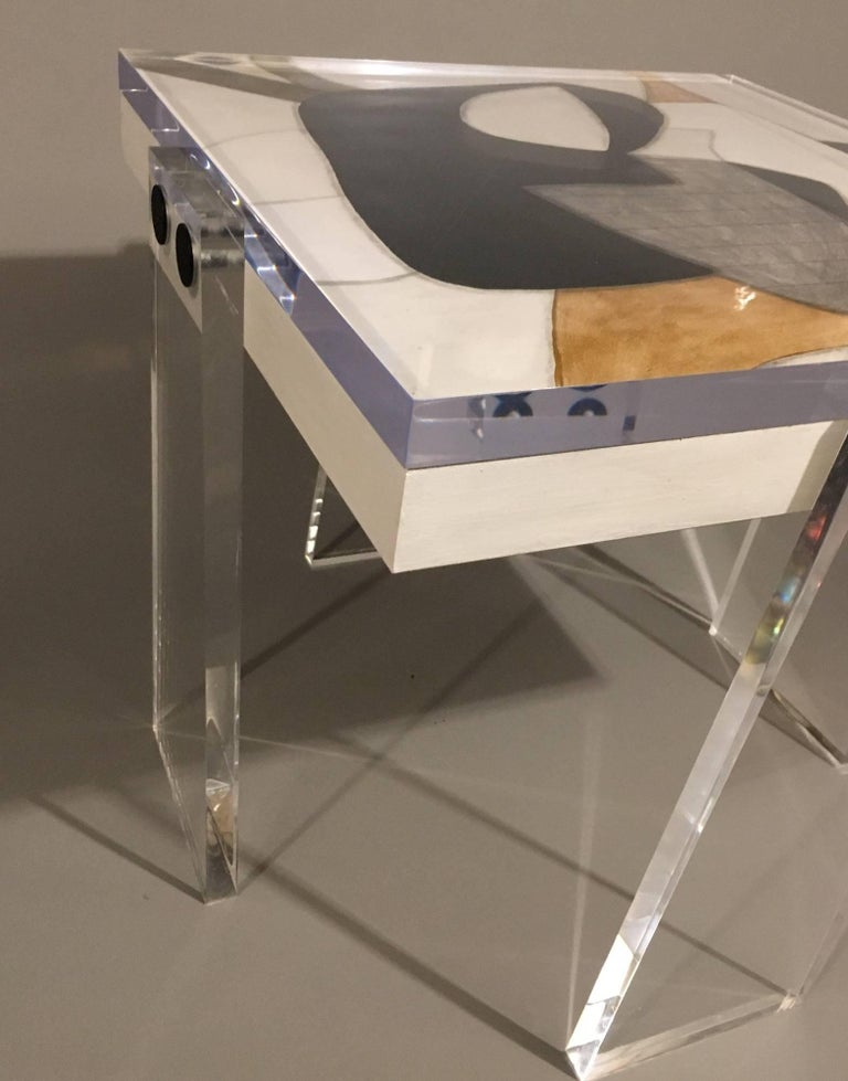 A beautifully handcrafted acrylic table with original signed artwork created by known artist Steve McElroy. Top measures 18 x 18 inches and legs are 25 inches tall. Legs may be requested custom any height at no extra charge. Top is 1 inch acrylic,