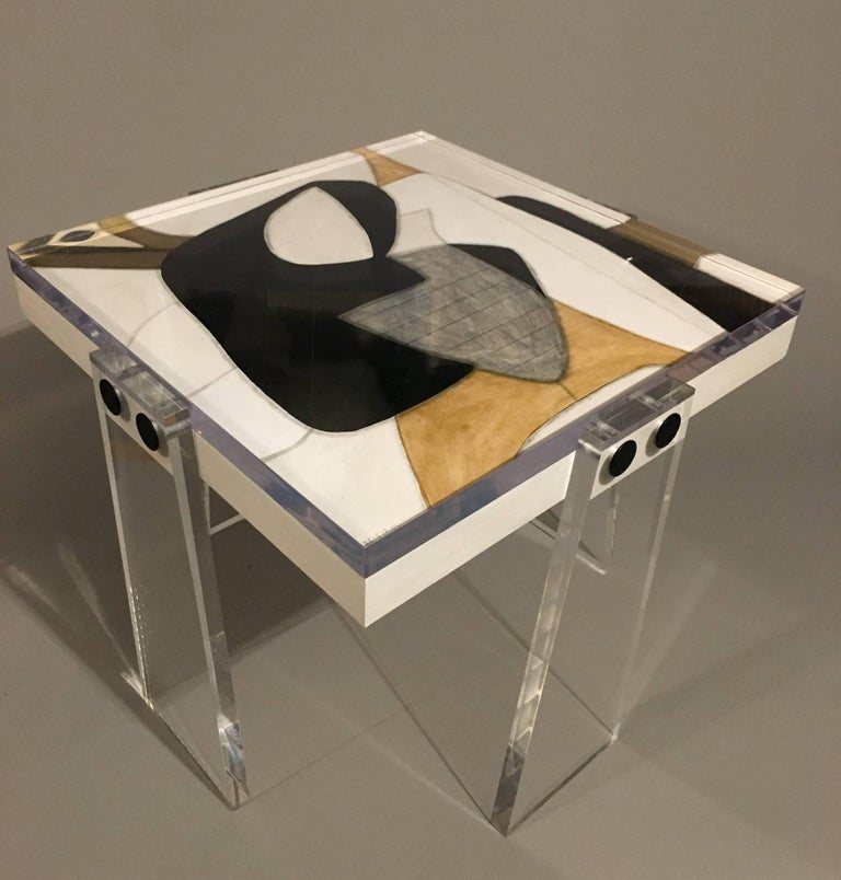 Art Deco Original/Signed/Handmade Acrylic Gallery Table by Known Artist Steve McElroy For Sale