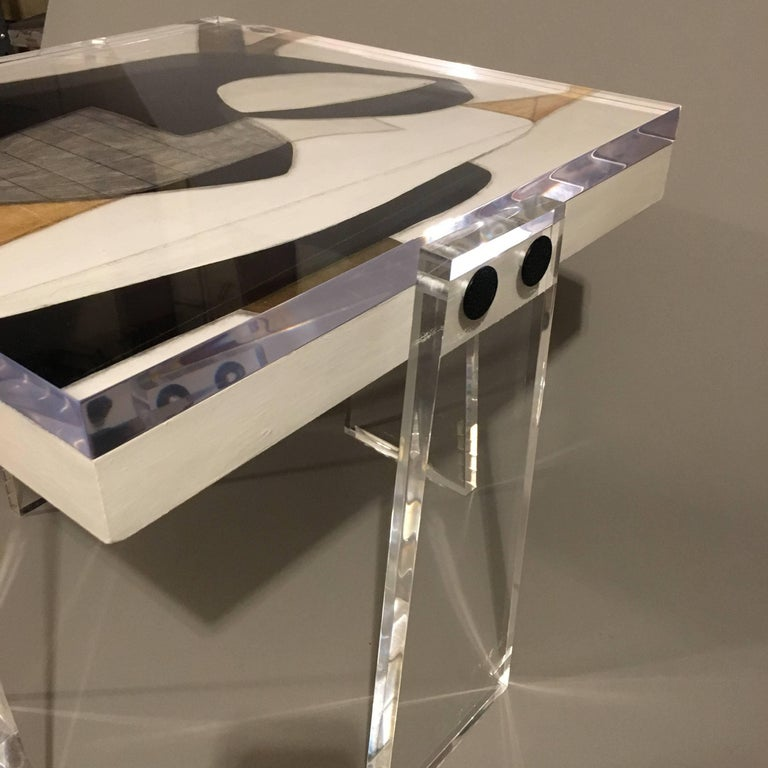 Original/Signed/Handmade Acrylic Gallery Table by Known Artist Steve McElroy In Excellent Condition For Sale In Los Angeles, CA