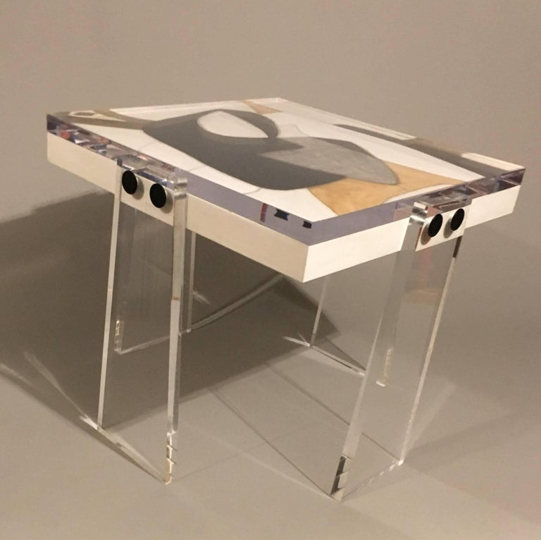 Contemporary Original/Signed/Handmade Acrylic Gallery Table by Known Artist Steve McElroy For Sale