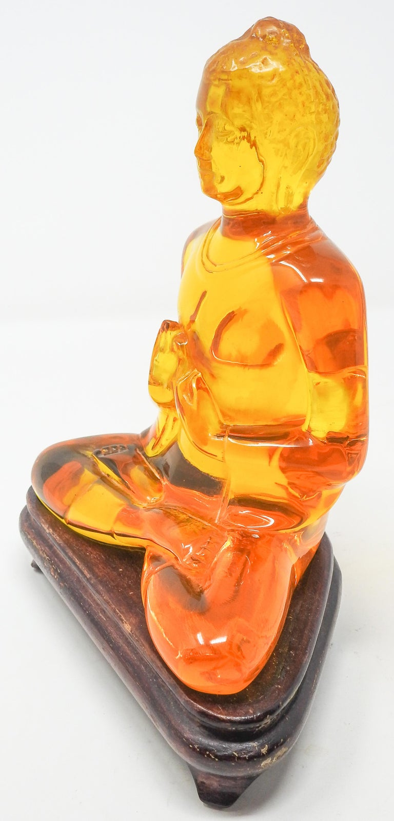 Acrylic Amber Buddha Sculpture For Sale 6