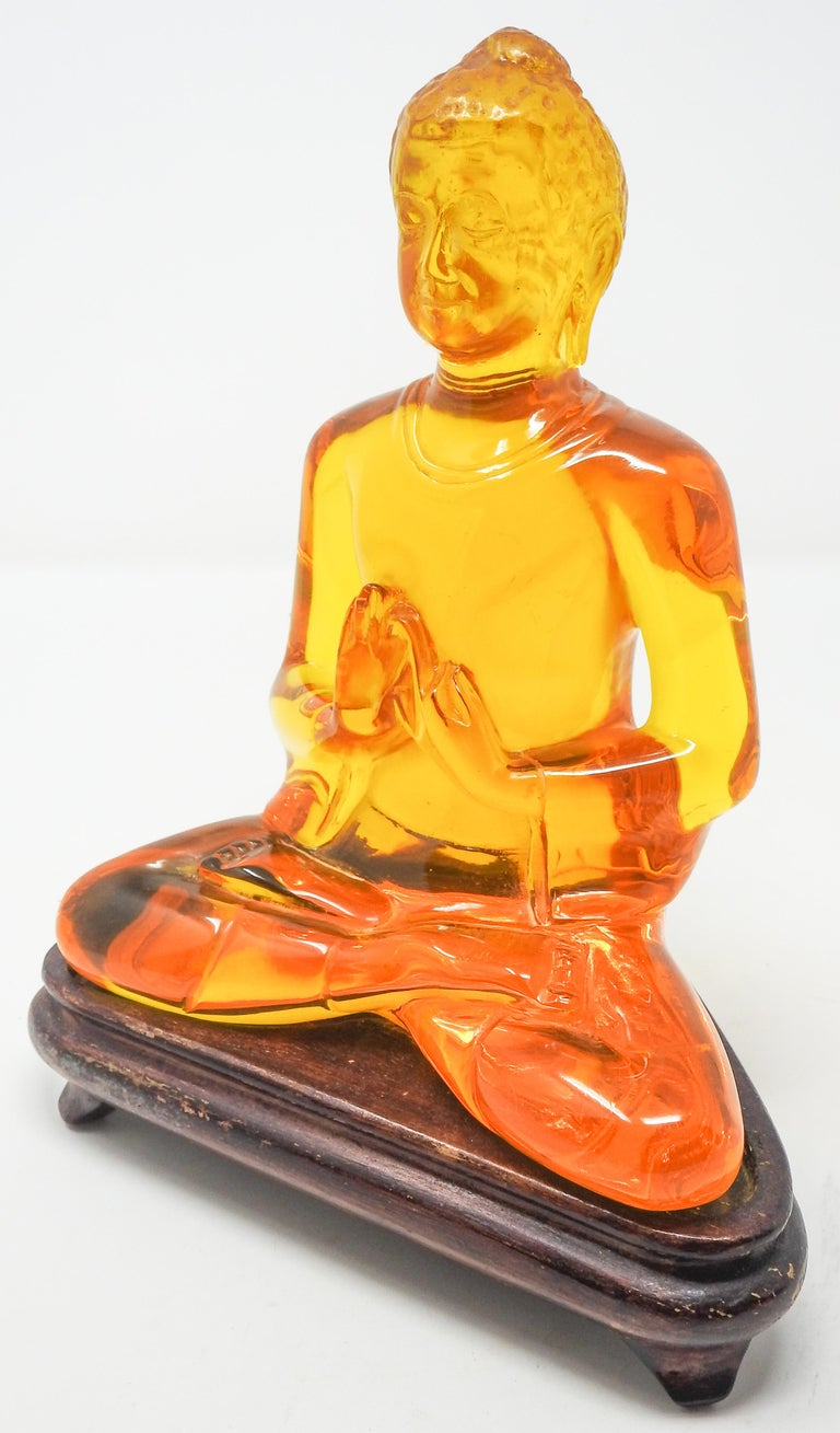 Acrylic Amber Buddha Sculpture For Sale 7