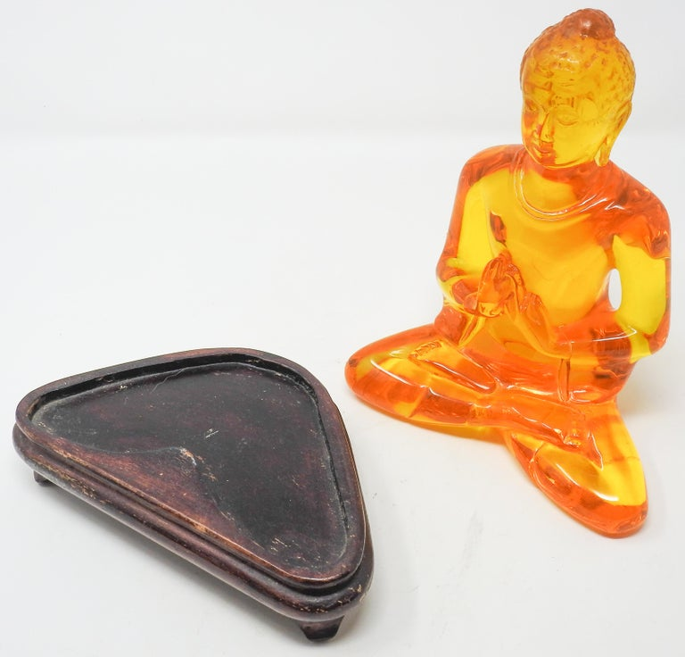 Acrylic Amber Buddha Sculpture For Sale 8