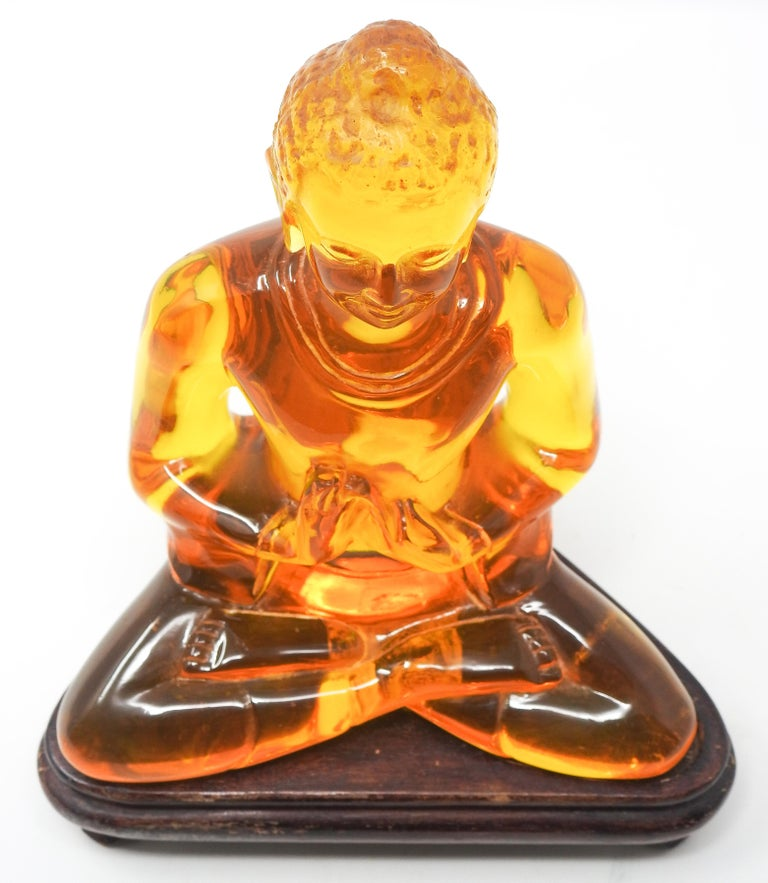Acrylic Amber Buddha Sculpture For Sale 12