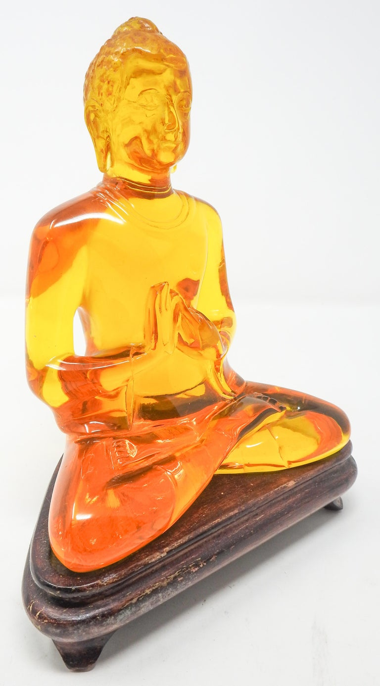 Chinese Export Acrylic Amber Buddha Sculpture For Sale