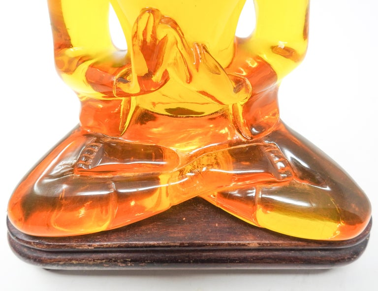 Hand-Carved Acrylic Amber Buddha Sculpture For Sale