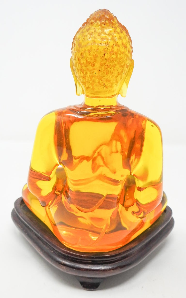 Acrylic Amber Buddha Sculpture For Sale 1