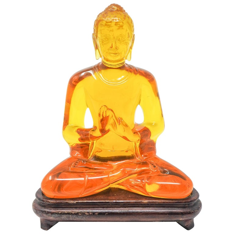 Acrylic Amber Buddha Sculpture For Sale