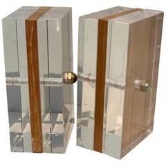 Acrylic and Mahogany Ritts Bookends for Astrolite