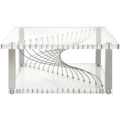 Acrylic Modern Industrial Coffee Table in Plexiglass Metal & Lucite