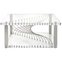 Modern Industrial Plexiglass Coffee Table with Metal and Lucite Acrylic