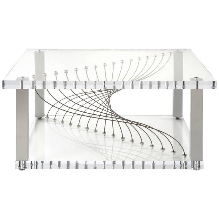Deon Industrial Coffee Table: Acrylic Argon, Modern Industrial Plexiglas Coffee Table