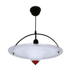 Acrylic Black and Red Postmodern  Pendant Lamp 1980s West Germany