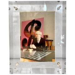 Acrylic Block Sculpture of Gagosian Gallery's Andy Warhol Exhibit Invitation