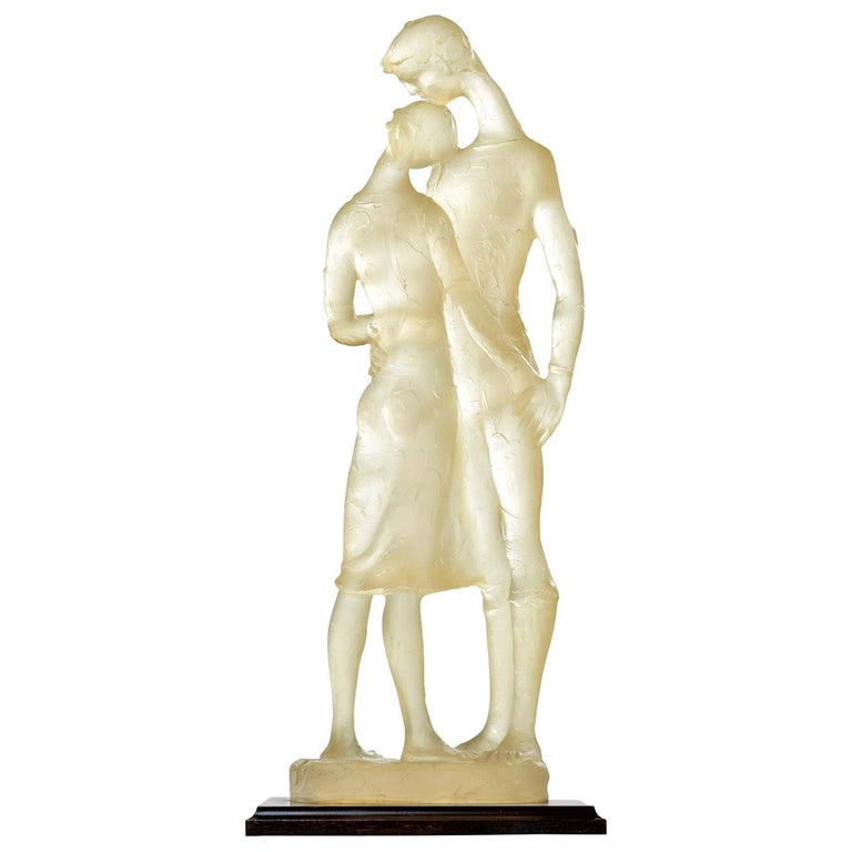 Acrylic Clear Resin Acrylic Lovers Embrace Figural Sculpture, Signed For Sale