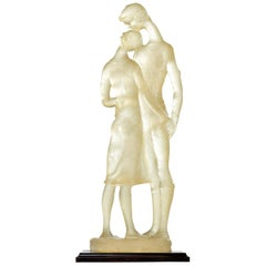 Acrylic Clear Resin Acrylic Lovers Embrace Figural Sculpture, Signed