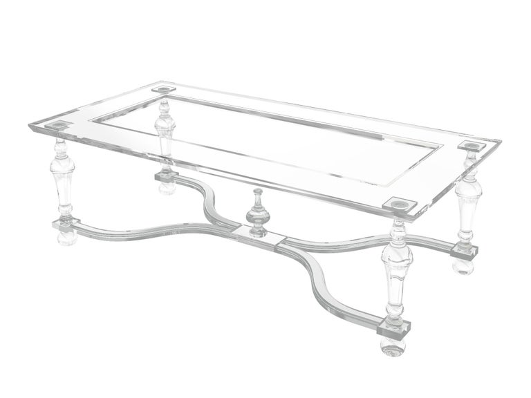 Thai Acrylic Coffee  Cocktail Table with Turned Legs, In Stock For Sale