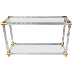 Acrylic Console Table with Gold Elements 4 Columns