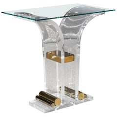 Acrylic Console Table with Golden Paint