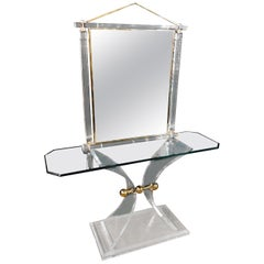 Acrylic Console with an Unusual Design with Mirror High Quality