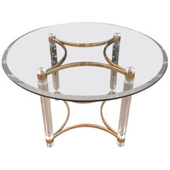 Acrylic Dining Table with Four Collumns Legs and Round Glass Plate