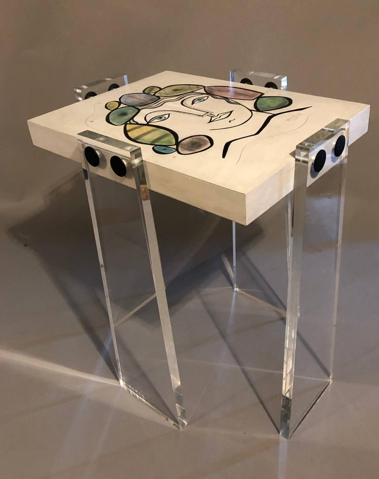 Hand-Crafted Original/Signed/Handmade Acrylic Gallery Table by Known Artist Steve McElroy For Sale