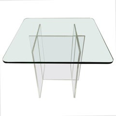 Acrylic, Lucite Coffee Table with Glass Top 1970s Hollis Style