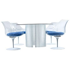 Acrylic Lucite Dining Set, Table and Champagne Chairs by Erwin & Estelle Laverne