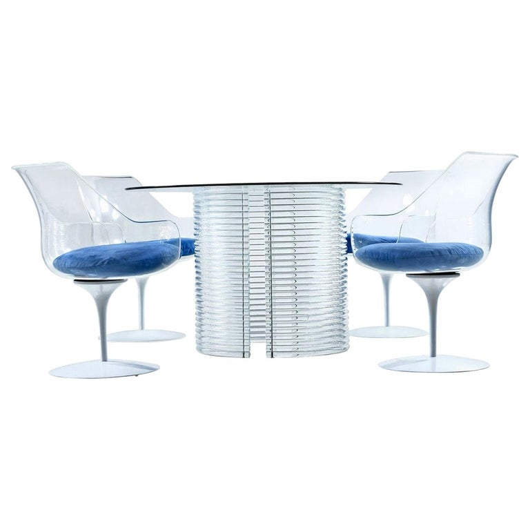 Acrylic Lucite Dining Set, Table and Champagne Chairs by Erwin & Estelle Laverne For Sale