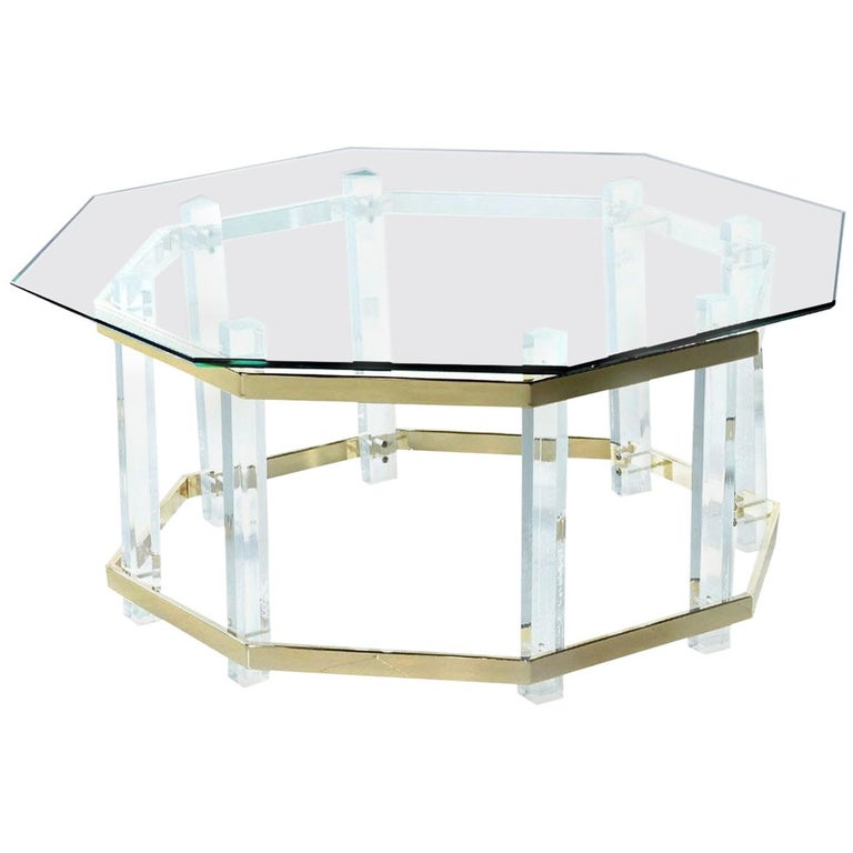 Acrylic Lucite Glass and Brass Coffee Table 1970s Hollywood Regency For Sale