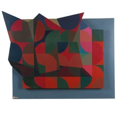 Acrylic on Board Abstract Geometric Painting by Keith Wood