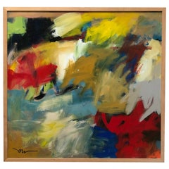 Acrylic on Canvas Abstract Painting by Susan Morosky 'Neon Day Field 3'
