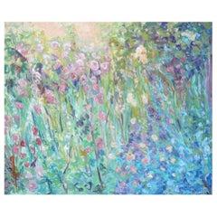 """Acrylic on Canvas, """"Le Jardin Dans Le Sud Quest"""" by Jacqueline Carcagno, 2019"""
