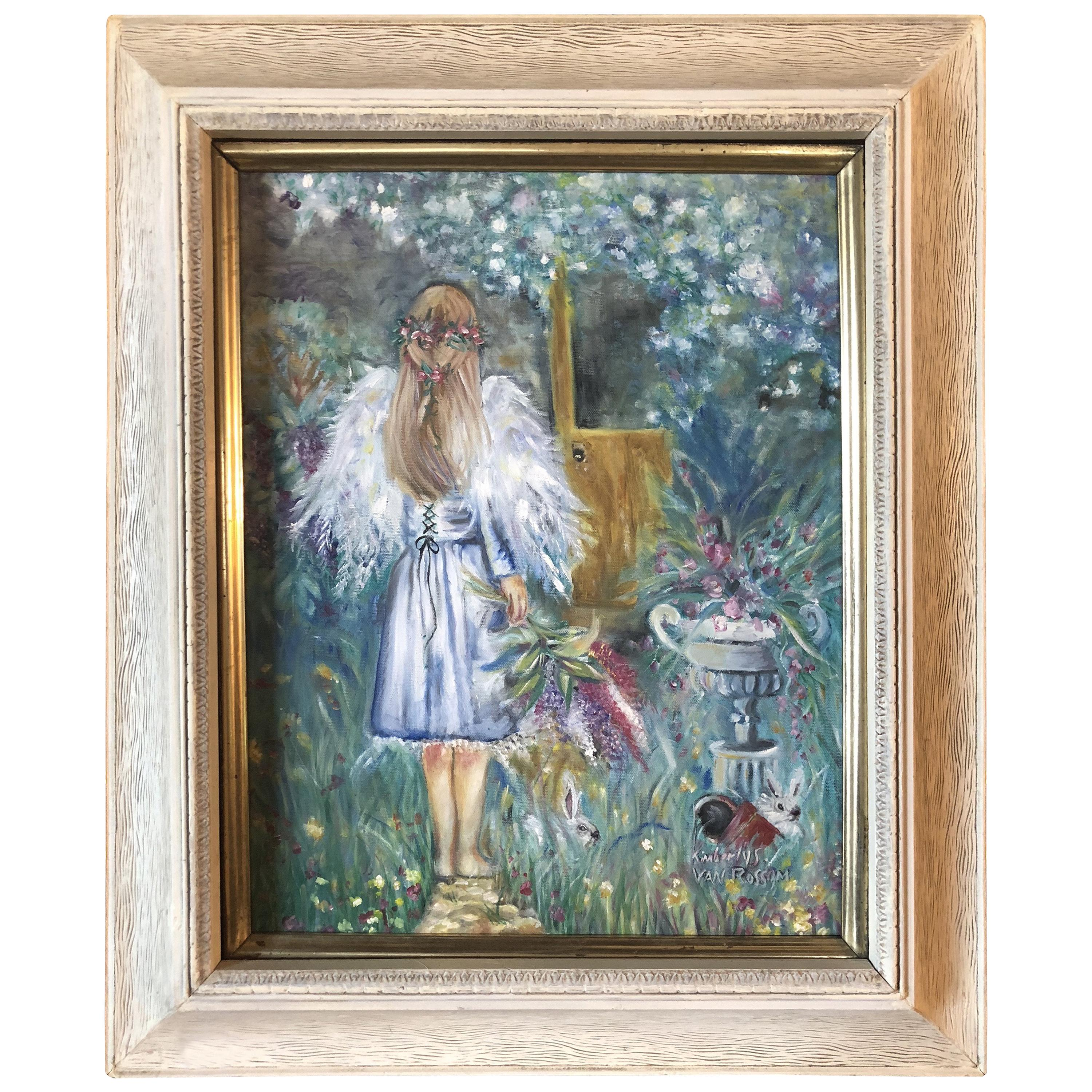 Acrylic on Canvas Painting of a Young Girl Signed Kimberly Van Rossum