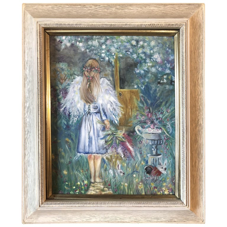 Acrylic on Canvas Painting of a Young Girl Signed Kimberly Van Rossum For Sale