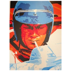 Acrylic on Canvas Painting of Steve McQueen Lemans Era by Detroit Artist