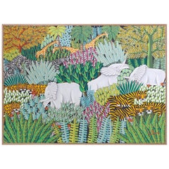 Acrylic Painting on Canvas of a Jungle Scene with Elephants