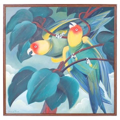 Acrylic Painting on Canvas of Two Parrots in the Rain