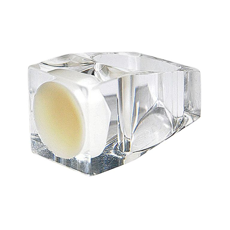 Acrylic Ring With Square White Plate By Siv Lagerström